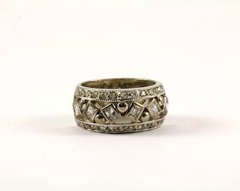 Vintage Crystal Band Ring 925 Sterling RG 3679