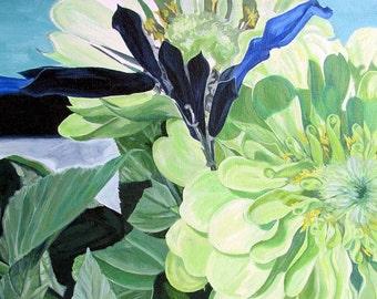 Zinnia in Chartruese- Original Acrylic Painting featuring zinnia and sallvia