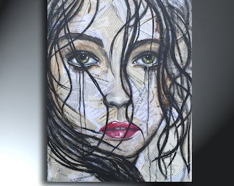 Woman's Crying Face Female Portrait Art Collage 18 x 24 Mixed Media Art