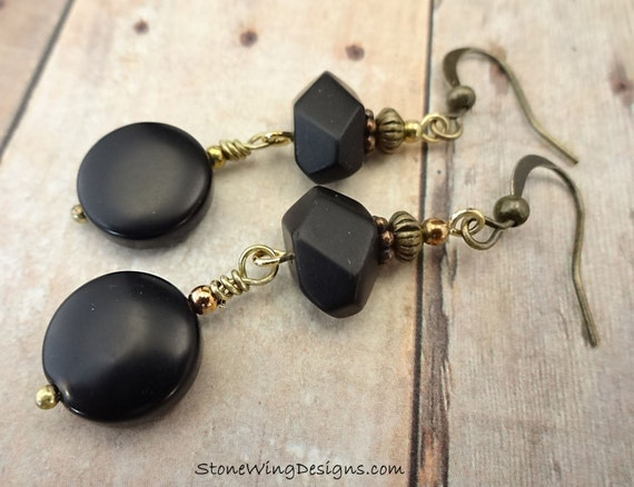 Boho Matte Black Onyx Earrings