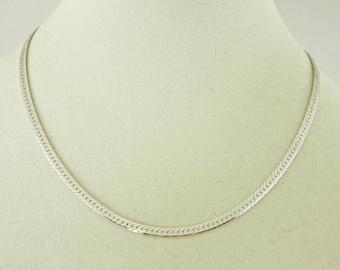 "Sterling Silver Herringbone Necklace 18"" x 4mm (11.7 grams)"