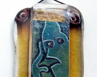 Original art OOAK - TEENY TINY painting of the thinker in a handmade glass picture frame