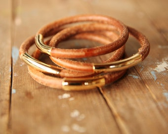 Brown leather bracelet,leather gold bracelet, multi strand cuff, boho bracelet, bracelet for women, rustic bracelet, boho jewelry