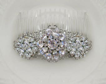 Wedding Hair Clip, Crystal Barrette, Bridal Comb, Silver hair clip, wedding barrette, rhinestone bridal Hair, comb , Clip or Barrette