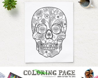 Coloring Page Floral Skull Halloween Party Printable Art Coloring Pages Instant Download Digital Art Holiday Art Print Adult Coloring Book