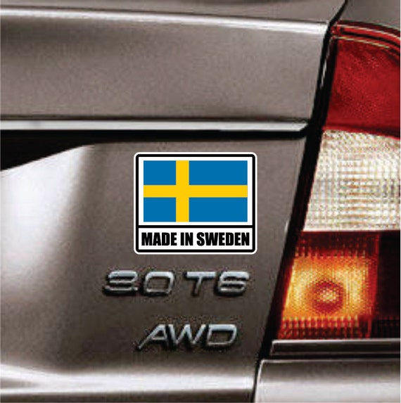 Made in sweden sticker vinyl decal swedish flag sticker car truck hatchback decal wagon sticker fits volvo saab