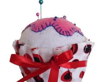 Pincushion, Cupcake Pincushion, Cupcake, Pin Cushion, Cupcake Pin Cushion, Sewing Accessories, Pins, Pin Organizer, Walnut Shells, CCPIN306