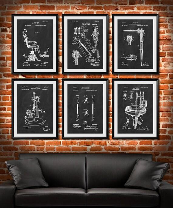 Men S Office Decor: SET Of 6 DENTAL Art Posters Dentist Patent Illustration Art