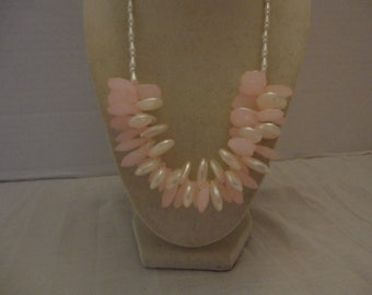 Pink and White Necklace White and Pink Necklace Chunky Necklace Statement Necklace One Of A Kind Necklace Wedding Necklace Bridesmaid Gift