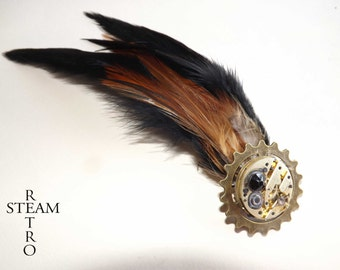Steampunk brooch - mechanism brooch - feathered brooch - steampunk jewelry - steampunk jewellery -womens steampunk - brooches