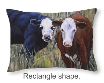 Throw Pillow, Black and Brown Cows, size of 14x14 to 26x26 inches Fine Art Painting by Christopher Shellhammer