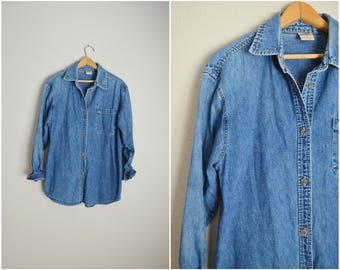 vintage 90s denim jean button down shirt blouse -- womns large