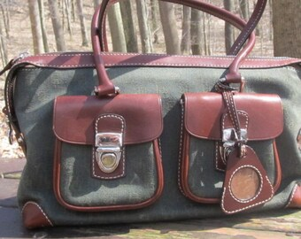 Dooney and Burke Green Canvas and Leather Purse -Handbag