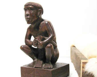 Vintage Drummer Man Wood Carving Hand Carved Figurine Sculpture