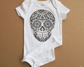 White Sugar Skull Baby one piece Day of the Dead Romper Trendy  0 3 6 12 months Halloween skull shirt for baby