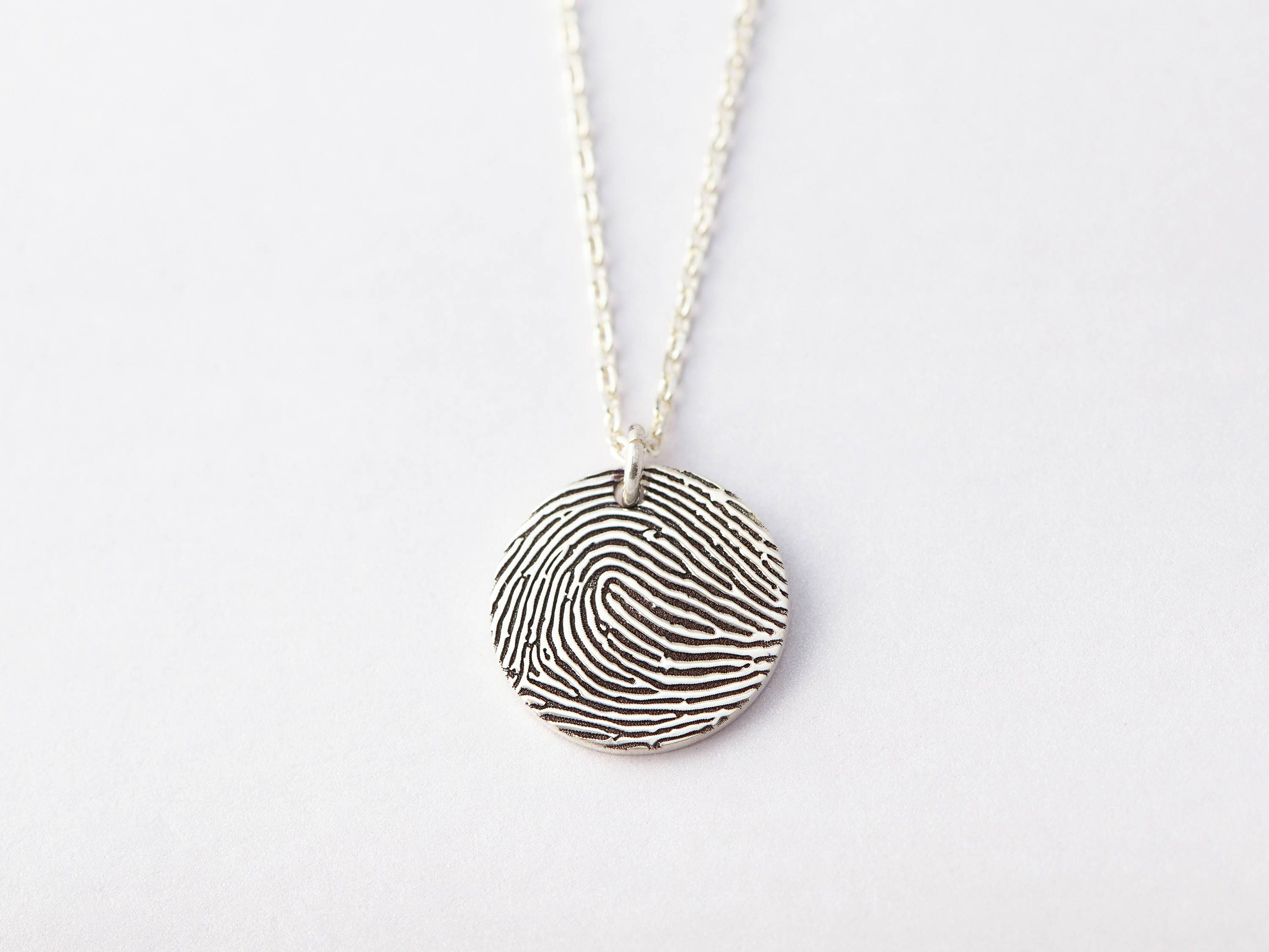 necklace family silver product style heart fingerprints with in fine fingerprint impression
