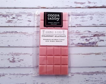 Strawberry Milkshake - White Chocolate Bar. Handmade from Belgian chocolate. Gluten free.