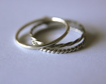 Set of 3 Textured Band Stackable Rings Mix and Match Sterling Silver
