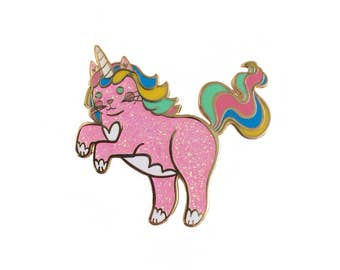 Unicorn Cat Enamel Pin - Unicorn Enamel Pin - UniCat  enamel pin - Caticorn enamel Pin - lapel pin hat pin