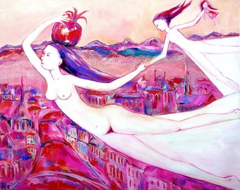 MOTHER AND DAUGHTER flying together original oil painting on canvas home decoration pink red artwork