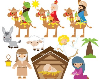 ON SALE INSTANT Download.   Nativity clip art. Christmas clip art. Ccnat_3. Personal and commercial