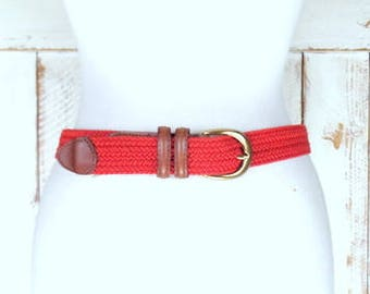 Vintage Liz Claiborne red crochet/macrame cotton rope tan leather boho/hippie belt/braided woven chord belt/medium