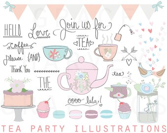 Tea Party ClipArt, Wedding Bridal Shower Clip Art, Tea Party Illustration Clip Art Pack, Instant download PNG EPS, Small Commercial Use
