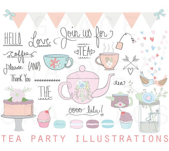 tea party clipart wedding bridal shower clip art tea party rh etsy com tea party clip art free downloads tea party clipart free