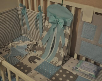 Cot Bedding Set, Grey Turquoise Nursery Bedding, Elephant Baby Bedding, Grey Turquoise Cot Bedding Set. Quilt Nappy Stacker Cot Tidy