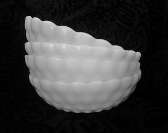 Vintage Milk Glass Bowl with Bubble Design by Anchor Hocking