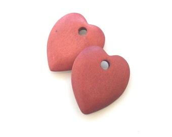 Large wood heart bead, Puffy heart pendant wooden bead, Red natural wood heart bead pendant heart charm, chunky heart, 2