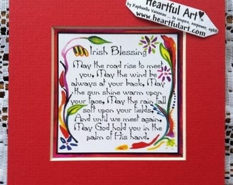 IRISH BLESSING Inspirational Quote Celtic Saying Friends Birthday Family Home Decor Housewarming Gift Heartful Art by Raphaella Vaisseau