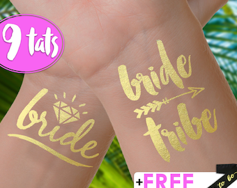 Set of 9 'Bride Tribe' Tattoos | bachelorette party tattoos, metallic temporary tattoos, gold foil tattoos, bridesmaid gifts, gold tattoos