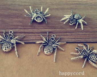 10pcs  Antique silver spider charm pendant  25mmx26mm