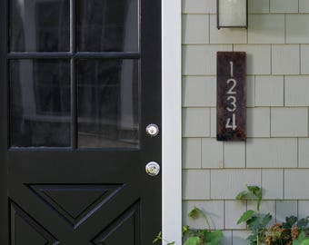 House Number Plaque, Raw Steel, Vertical