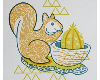 SALE - Vintage Planter II Limited Edition Letterpress Print Squirrel Planter