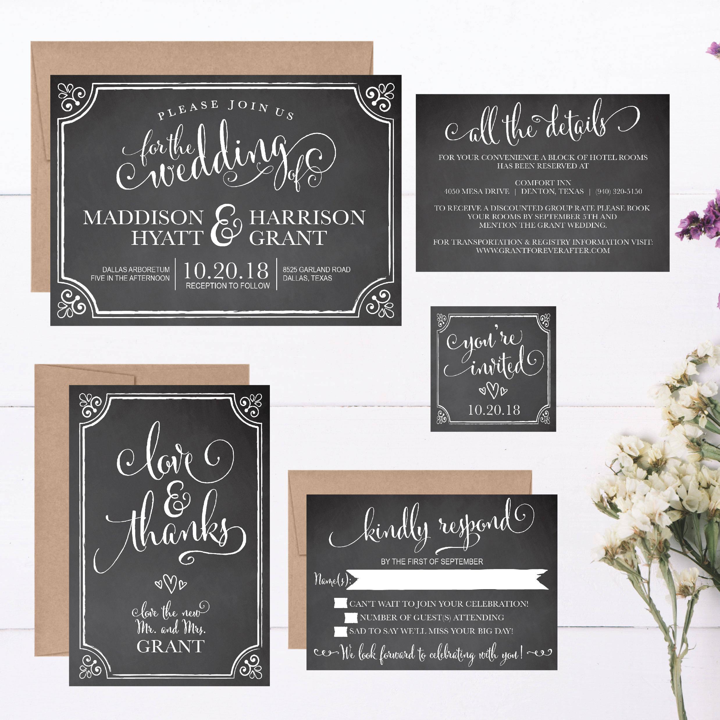 Chalkboard Wedding Invitation Template: Rustic Chalkboard Wedding Invitation Template Vintage Gray