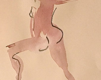 Nude painting of One minute pose 113.9 nude art, original, gesture sketch by Gretchen Kelly