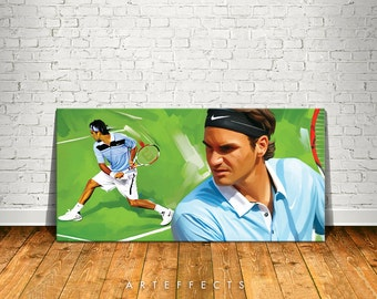 Roger Federer Canvas High Quality Giclee Print Wall Decor Art Poster Artwork