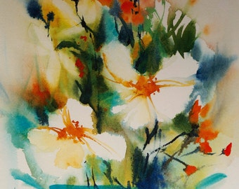 """Postcard. Greeting card. Reproduction watercolor flowers """"The two white"""""""