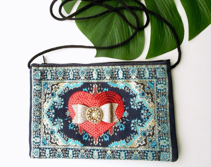 Crossbody Boho Pouch Bag, Shoulder Purse Oriental Rug Bag, Turkish Carpet Bag, Christmas gift, Bohemian Gipsy Boho Bag. Gift for her.