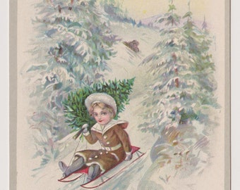 Antique Stecher Postcard, Child Bringing Home Tree on Sled, Winter Wonderland, Merry Christmas Postcard, Ephemera