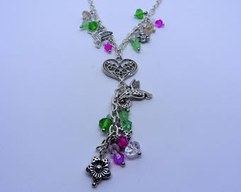 I'm Like A Bird I'll Only Fly Away!! A Humming Bird, Flower Charm and Crystal Necklace