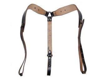 Black Leather Shoulder Harness - Vintage Army Suspenders / Braces / Y Strap Steampunk 1980s NOS
