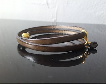 Leather strap and coffee bean