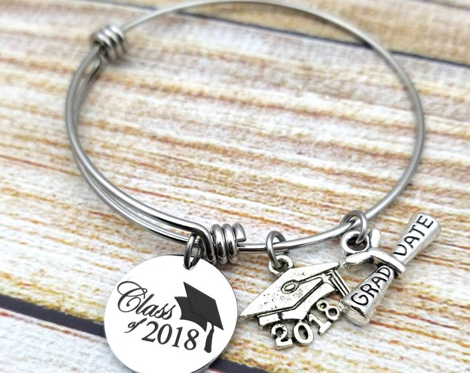 Class of 2018 with grad cap accent Customizable Expandable Bangle Charm Bracelet, graduation, high school, college,