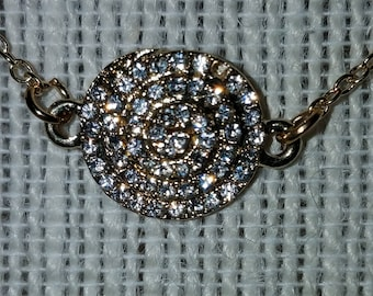 Gold Plated Rhinestone Covered Spiral Pendant Necklace