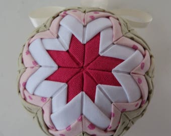 """Quilted Ornament Ball, 4"""" Fabric Ornament, Ornament Ball With Cream Ribbon, Red White Olive Pink, Ornament With Polka Dots, No Sew Ornament"""