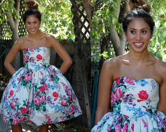 1980s does 1950s Strapless Floral Dress with Oversized Bow // Ultimate Fit and Flare Tea Party Dress with Full Skirt