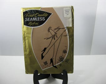 Vintage seamless nylon stockings by First Quality, NOS, original package